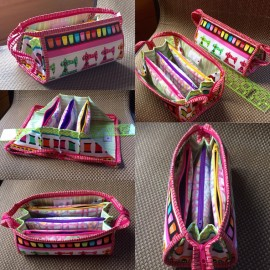 Small sewing bag with flying pockets (not sewn to the bottom) and double puller zipper