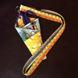 Quilted scissors and tools holder + lanyard with swivel hook and attached seam ripper pocket